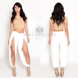 pants kimikouture signature split pants kimi kouture split pants white pants white spring summer custom custom made nude beach beachy white swimwear swim cover up swim clothing customized legs