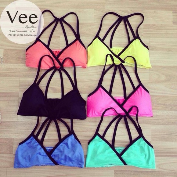 swimwear bikini clothes neon top yellow orange bikini top bikini tops bra bralette girly bra top underwear undergarments corset camis white bralette stretchy lingerie undergarment white dress