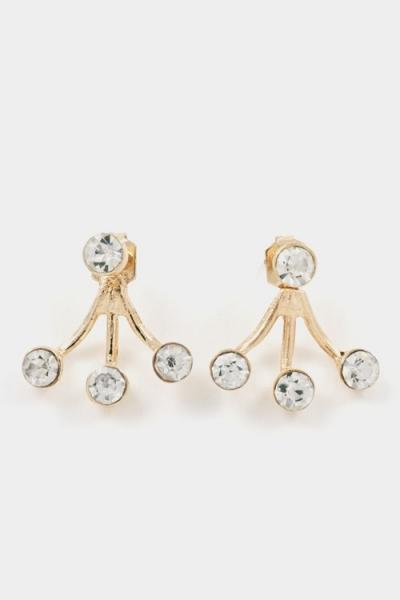 Crystal fanned gold ear jackets earrings