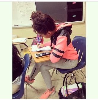 jacket girly peach fashion style stule hoodie shoes