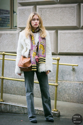 jacket tumblr fur jacket white fur jacket white jacket streetstyle denim jeans scarf bag brown bag