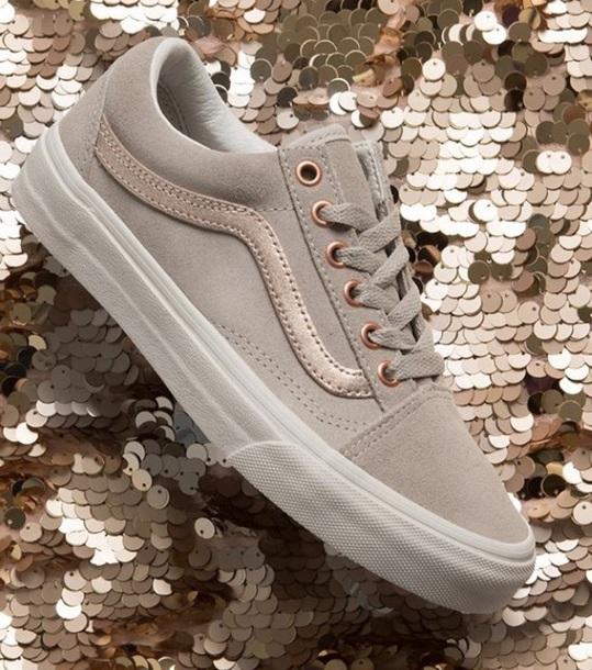 afe296f85446 shoes old skool vans grey rose gold