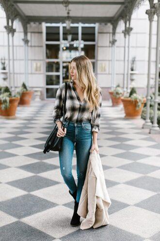 hustle and halcyon blogger jeans coat shoes bag shoulder bag skinny jeans ankle boots beige jacket shearling jacket
