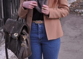 pants brown leather bag vest high waisted light blue jeans beige belt scarf ring jacket jewels bag