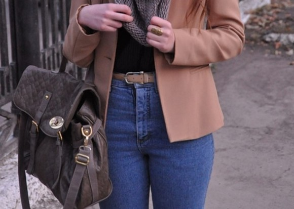 pants bag jacket scarf jewels leather brown bag vest high waisted light blue jeans beige belt ring