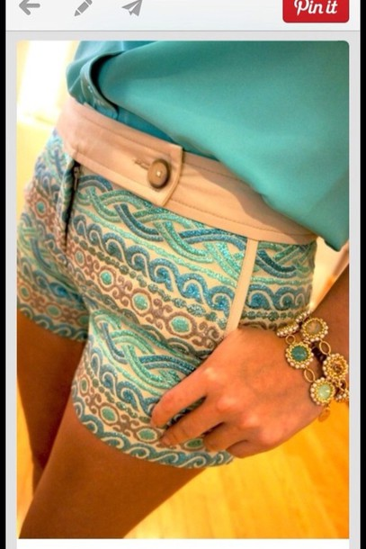 pants shorts blue pattern print tribal pattern clothes colorful shorts teal printed shorts