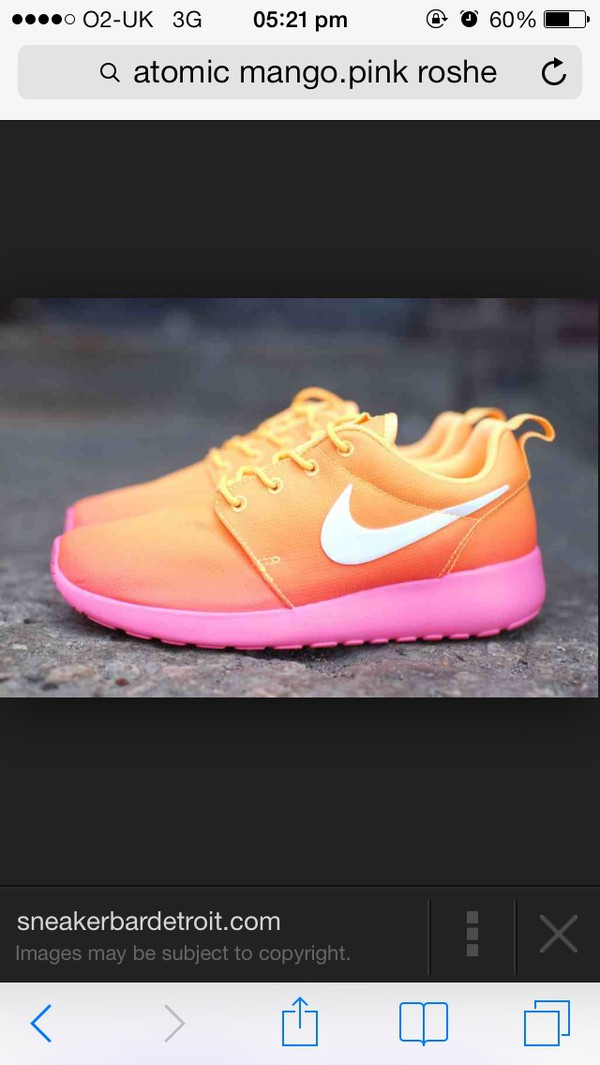 shoes nike roshe run pink orange