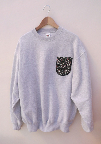 sweater crewneck cute fashion hipster sweatshirt hoodie jumper grey pockets floral crew sweat clothes crewneck sweater grey sweater flowers pocket t-shirt shirt oversized sweater skater jacket coat tumblr top pocket sweater grey sweater