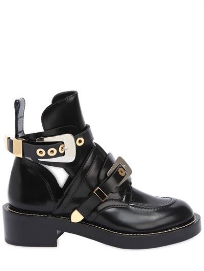 BALENCIAGA, 40mm clipper brushed leather boots, Black, Luisaviaroma