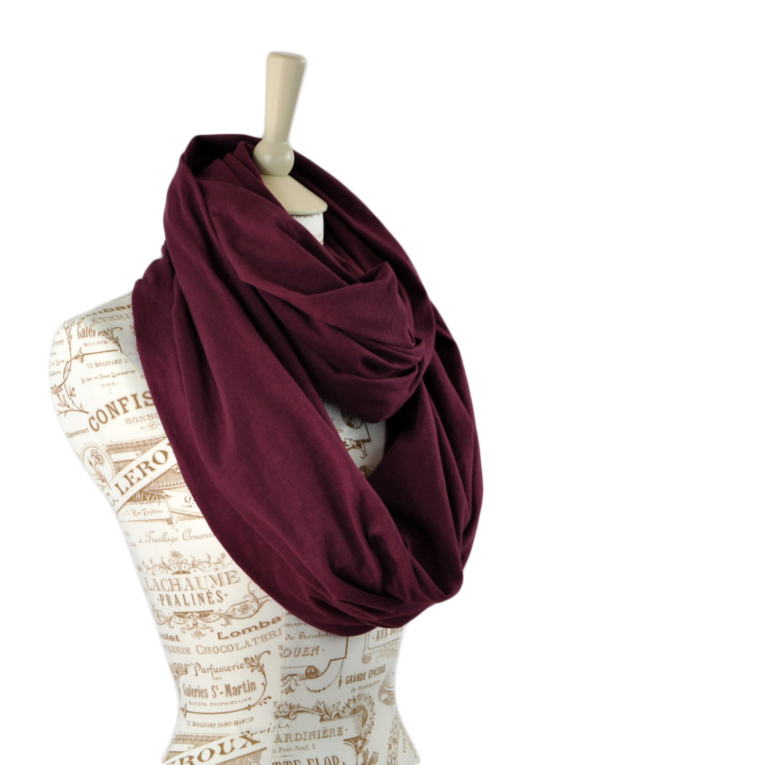 Maroon Infinity Scarf Jersey Wine Scarf Mulberry