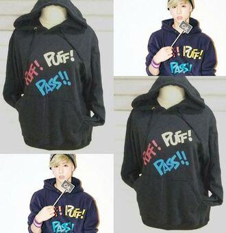 sweater mark got7 puff puff pass black hoodie black hoodie kpop mark tuan bambam korean fashion cool print