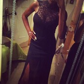 dress,lace,black,long,maxi,high neck,low cut,tight,bodycon dress
