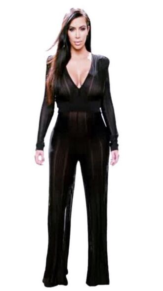 jumpsuit black balmain kim kardashian keeping up with the kardashians plunge v neck