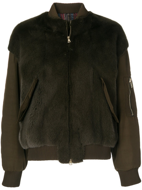 BLANCHA fur women green jacket