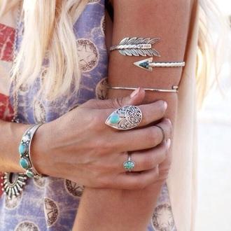 jewels silver jewelry silver arm bracelet bracelets ring turquoise jewelry grunge wishlist