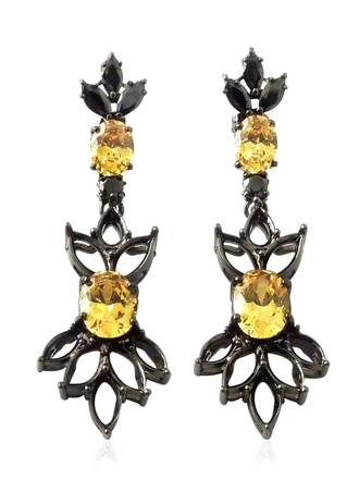 jewelry earrings black yellow jewels