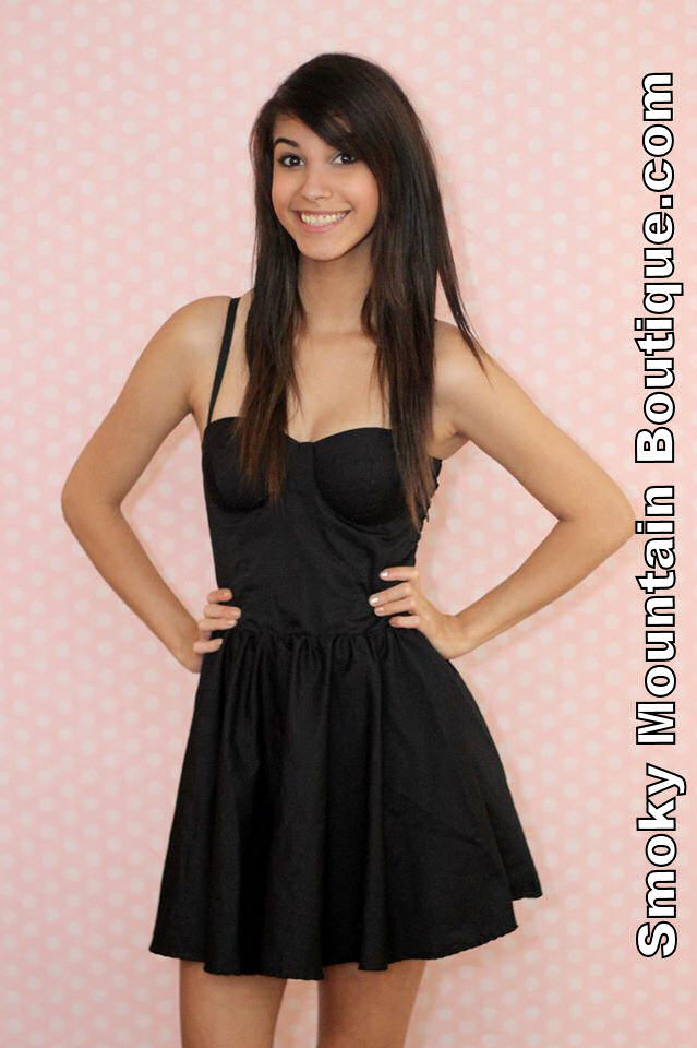 Sexy black bustier dress with adjustable straps