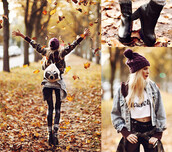 jacket,denim jacket,jeans,denim,hat,t-shirt,shirt,quote on it,purple,fall outfits,fall sweater,boots,black high waisted pants,black pants,white t-shirt,white crop tops,white tank top,white,bag,white bag,socks,green jacket,camouflage,camo jacket