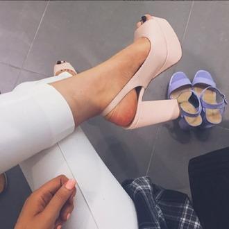 shoes heels block heels pink powder pink open toes peep toe heels summer sandals sandal heels high heel sandals