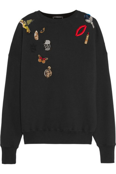 Alexander McQueen - Appliquéd Cotton-jersey Sweatshirt - Black