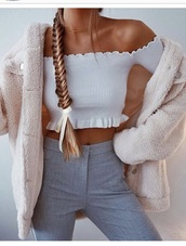 shirt,white,white top,off the shoulder,crop tops,ruffle
