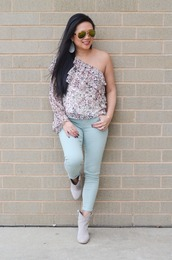 morepiecesofme,blogger,bag,top,shoes,blue jeans,one shoulder,ankle boots,booties