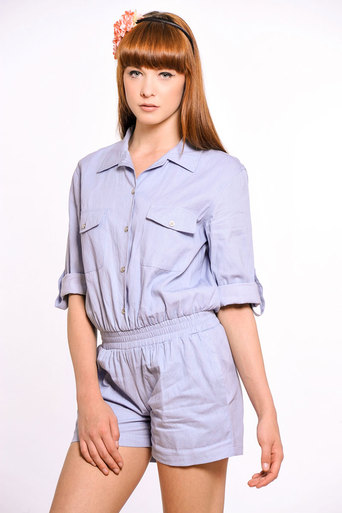 Ladies Farrell Denim Shirt Style Playsuit | Pop Couture