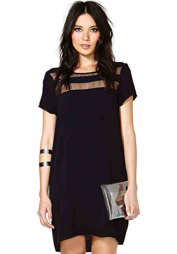 Sheer Segment Shift Dress