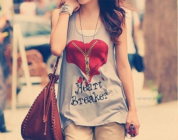 heart blouse shirt zipper