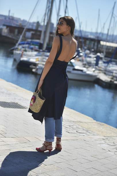 009a965e342 dress tumblr midi dress navy navy dress open back open back dresses  backless backless dress bag