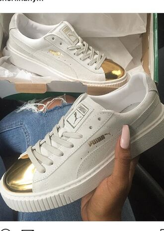 shoes white and gold shoes puma sneakers gold cool white sneakers white and gold gold and white gold and white shoes