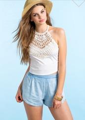 shirt,crochet,lace,crop tops,bohemian,top,crochet crop top,halter top,lace top,boho shirt