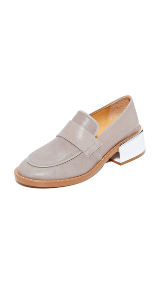 heel loafers grey shoes