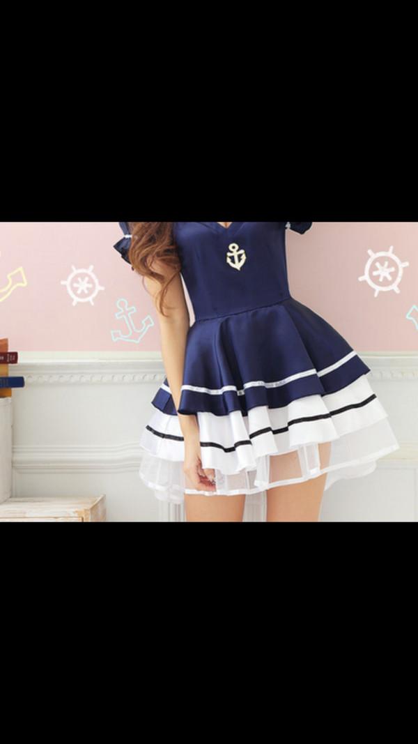 dress sailor style blue dress white dress striped dress stripes striped skirt sailor light blue dark blue style sailer dark blue dress white blue anchor blue and white navy navy dress marine clothes sea