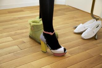 shoes pumps high heels multicolor original cute chunky heel peep toe pink polka dots yellow summer black tights