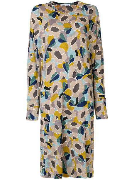 dress print dress women floral print wool grey