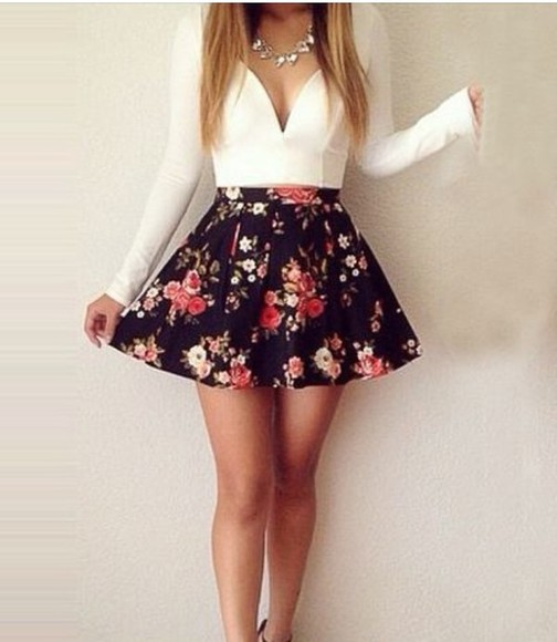 floral skirt blouse spring girly