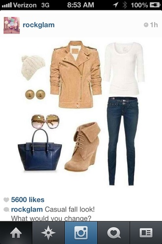 jewels sweater shoes jacket bag boots casual tan suede jacket fall outfits leather jacket hat