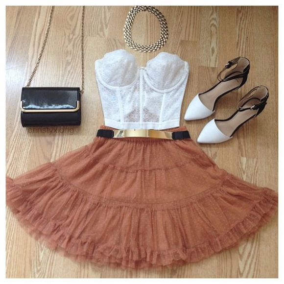 dress clutch nude skirt white bodice summer outfit prom outfit all cute outfits shirt, shorts, lace, bows, white, bag, japanese, korean, tights, thigh highs, louis vuitton clutch oversized envelope clutch gold jewelry flower pattern, mini skirt, colorful