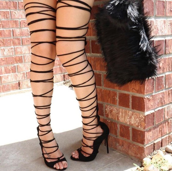 d7bdcebb86ef Shoespie Thigh High Lace Up Sandals