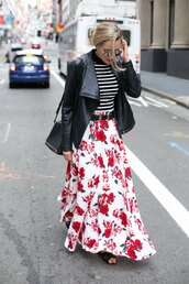 the classy cubicle,blogger,belt,sunglasses,jewels,flower skirt,flowers,leather jacket,shoulder bag,black bag,maxi skirt,striped top,black sandals,spring outfits,floral skirt,rebecca minkoff,striped turtleneck