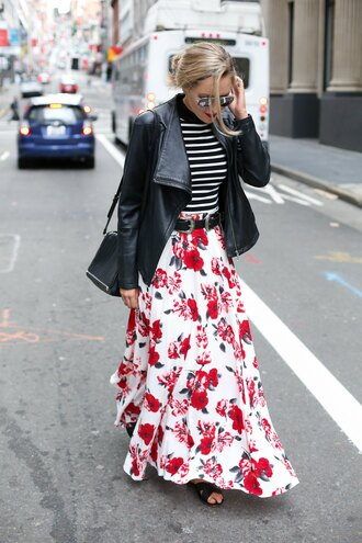 the classy cubicle blogger belt sunglasses jewels flower skirt flowers leather jacket shoulder bag black bag maxi skirt striped top black sandals spring outfits floral skirt rebecca minkoff striped turtleneck