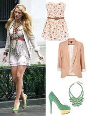 jacket,cute dress,dress,blake lively,pink,beige,cute