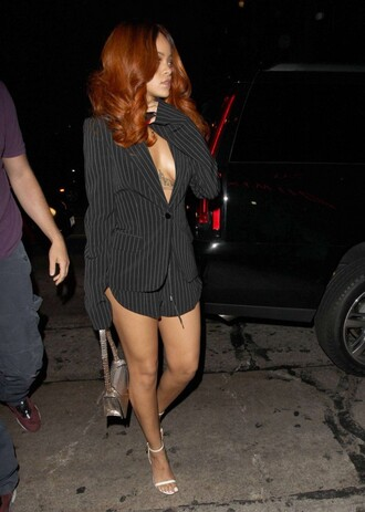 shorts striped suit blazer suit rihanna sandals