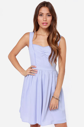Lovely Periwinkle Dress - Sweetheart Dress - Sleeveless Dress - $75.00