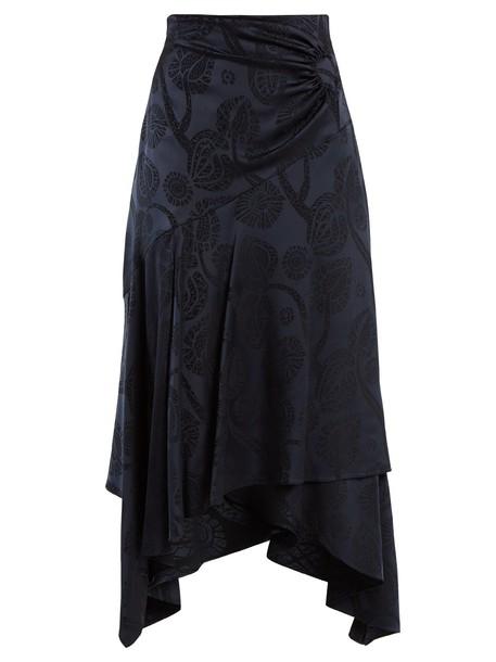 Peter Pilotto skirt high satin navy print