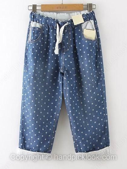 Blue Drawstring Waist Polka Dot Denim Shorts - HandpickLook.com