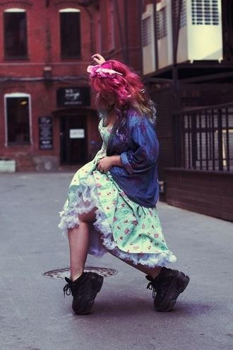 shoes platform shoes creepers floral print mint green dress pink hair denim jacket vintage coat