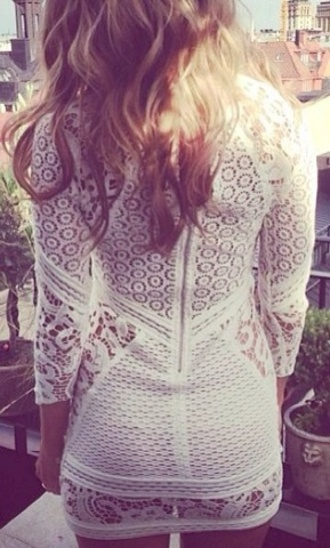 dress white dress white lace dress bodycon cute dress lace zip see through dress long sleeves white dress lace dress elegant summer dress summer outfits white short