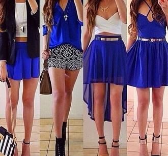 top blue skirt blue high heels white necklace belt black shoes gold silver skirt dress bag blouse